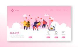 People in Love on Winter Season Landing Page. Valentines Day Banner with Flat Characters and Hearts. Website Template stock illustration
