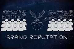 People loving or hating a product, with text Brand Reputation Stock Images