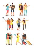 People with luggage on vacation. Tourist man, woman and kids with bags. Traveling family vector character set. Character man and woman with suitcase and Stock Photography