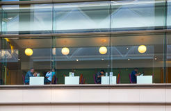 People at lunch in cafe, Canary Wharf banking and business center Stock Photography