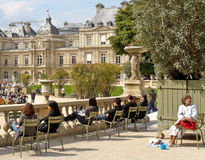 People in Luxembourg Gardens, Paris Royalty Free Stock Photography