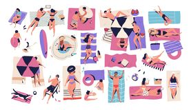 People lying on towels or blankets on beach or seashore and sunbathing, reading books, talking. Men, women and children. Relaxing at summer resort. Recreational vector illustration