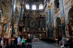 People in magnificent churche of Lvov Royalty Free Stock Photography