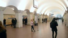 People on Maidan Nezalezhnosti subway station, Kiev, Ukraine,. KIEV - FEB 21: People on Maidan Nezalezhnosti subway station during Euro maidan meeting in Kiev stock video footage