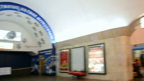 People on Maidan Nezalezhnosti subway station, Kiev, Ukraine,. KIEV-FEB 21: Euro maidan meeting in Kiev,Ukraine on February 21,2014 devoted to declining of stock video