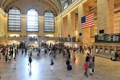 People in Main hall Grand Central Terminal, New York. New York, USA - May 26, 2018: People in Main hall Grand Central Terminal, New York royalty free stock photo