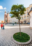 People on the Main Market Square  in Krakow, Poland Royalty Free Stock Photo