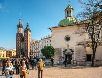People on the Main Market Square in Krakow, Poland Stock Images
