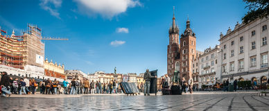 People on the Main Market Square in Krakow, Poland Royalty Free Stock Image
