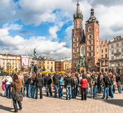 People on the Main Market Square in Krakow, Poland Stock Image