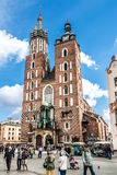 People on the Main Market Square in Krakow, Poland Royalty Free Stock Photos