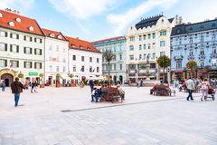 People at Main Square in Bratislava Old Town Royalty Free Stock Photos