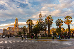 People on Main Square and Cathedral at dusk, Arequipa, Peru Stock Photography