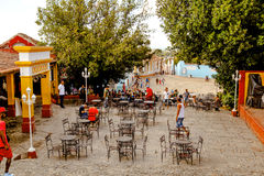 People in the main square of Trinidad, Cuba Royalty Free Stock Photos