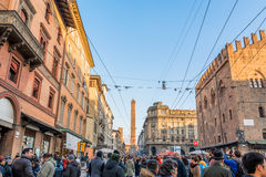 People and main street in Bologna, Italy Stock Photography