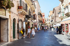 People on main street Corso Umberto I in Taormina Stock Image
