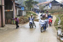 People in the main street of Sapa village in north Vietnam Royalty Free Stock Image