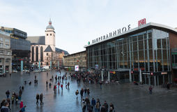 People on the main train station in Cologne in Germany Royalty Free Stock Photography