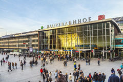 People on the main train station in Cologne in Germany Royalty Free Stock Images