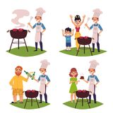People make BBQ, barbeque, cook meat on grill. People make BBQ, barbeque outdoors, cook meat on grill, drink beer, cartoon vector illustration isolated on white stock illustration