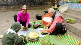 People make square glutinous rice cake Stock Photos