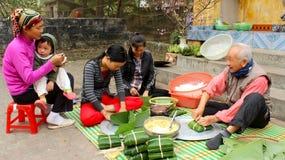 People make square glutinous rice cake Stock Photo