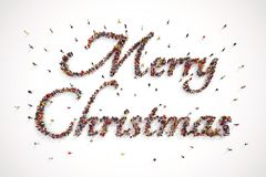 People make up the Merry Christmas text. 3D Rendering. Good wishes from a group of people. 3D Rendering vector illustration