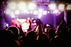 People makes photo with His smartphone on concerts Royalty Free Stock Photo