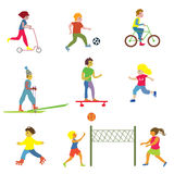 People making different sports - funny design. Illustrations Royalty Free Stock Photography