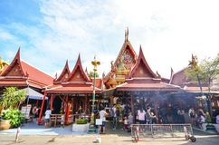 People are making merit for the king on father& x27;s day. Make merit at wat thep lee Stock Photography