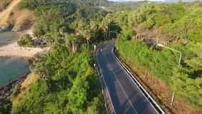 People Making Selfie while Driving Motorbike in Phuket. Beautiful Tropical Landscape Road Aerial Sea View. HD. stock video