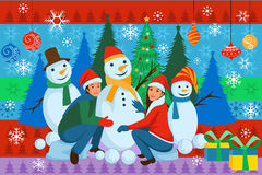 People making Snowman for Merry Christmas Royalty Free Stock Photo