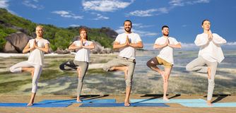 People making yoga in tree pose on mats outdoors Stock Photos