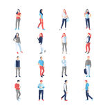 People, male, female, in different casual common poses. Modern vector flat design icons set. Standing walking watching smartphone arms across akimbo with a royalty free illustration