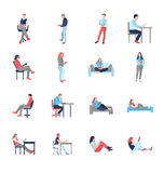 People, male, female, in different casual common reading poses. Modern vector flat design icons set. Holding book, reading, thinking, at the desk, on the vector illustration