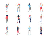 People, male, female, in different casual poses Royalty Free Stock Images