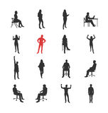 People, male, female silhouettes in different casual common poses Royalty Free Stock Images