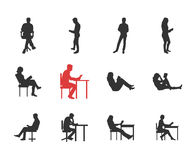 People, male, female silhouettes in different casual common reading poses. Modern vector flat design icons set. Holding book, reading, thinking, at the desk stock illustration