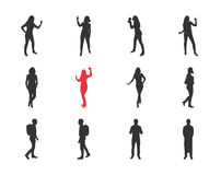 People, male, female silhouettes in different casual poses Royalty Free Stock Image