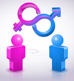 People, Male and Woman synbols. Two 3D characters and male and female gender symbols,icon and concept background royalty free illustration