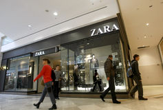 People in mall - Zara store Royalty Free Stock Photography