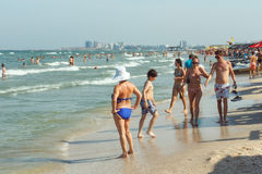 PEOPLE ON THE MAMAIA BEACH Stock Image