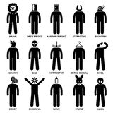 People Man Characteristic Attitude Pictogram. A set of pictogram representing the characteristic, behaviour, mind, attitude, identity, and personalities of a Royalty Free Stock Photos
