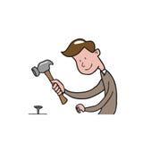 People man hammer cartoon Royalty Free Stock Photos