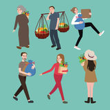 People man woman character bring stuff carry object set activities collection Royalty Free Stock Images