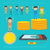 People man and woman earn money and coin. Feel so happy Royalty Free Stock Images
