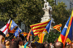 People manifesting dr independence in Catalonia Stock Photos