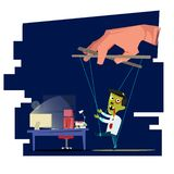 People manipulating, people playing puppet businessman to going to working late night. hard working and die concept -. Illustration royalty free illustration