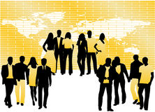 People and map vector illustration