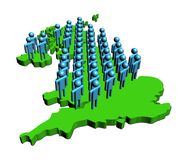 People on map of Britain Royalty Free Stock Image